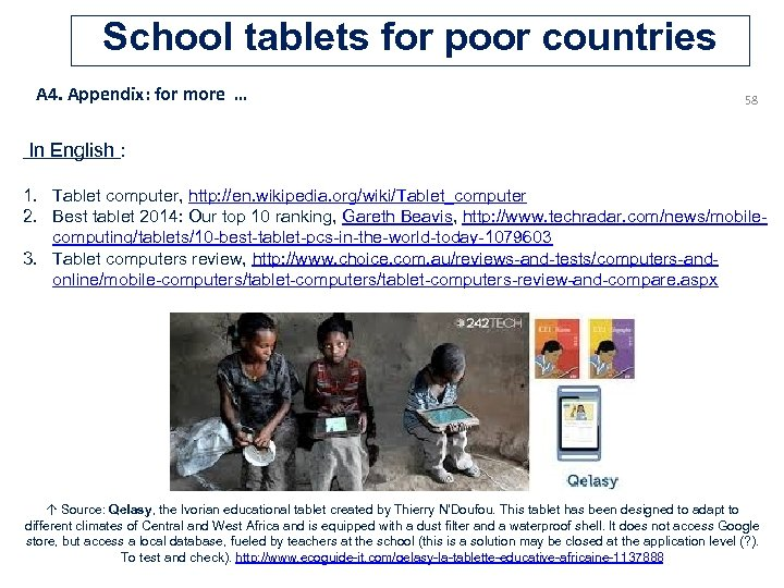 School tablets for poor countries A 4. Appendix: for more … 58 In English