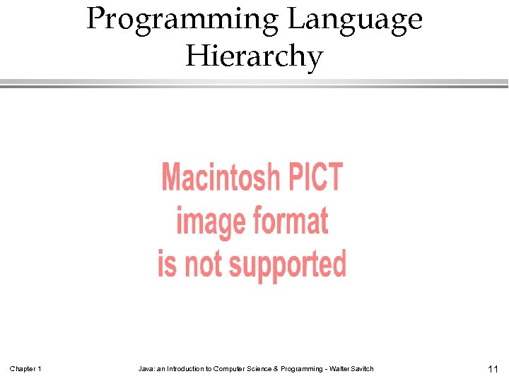 Programming Language Hierarchy Chapter 1 Java: an Introduction to Computer Science & Programming -