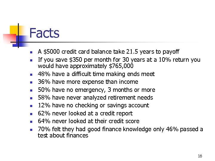 Facts n n n n n A $5000 credit card balance take 21. 5