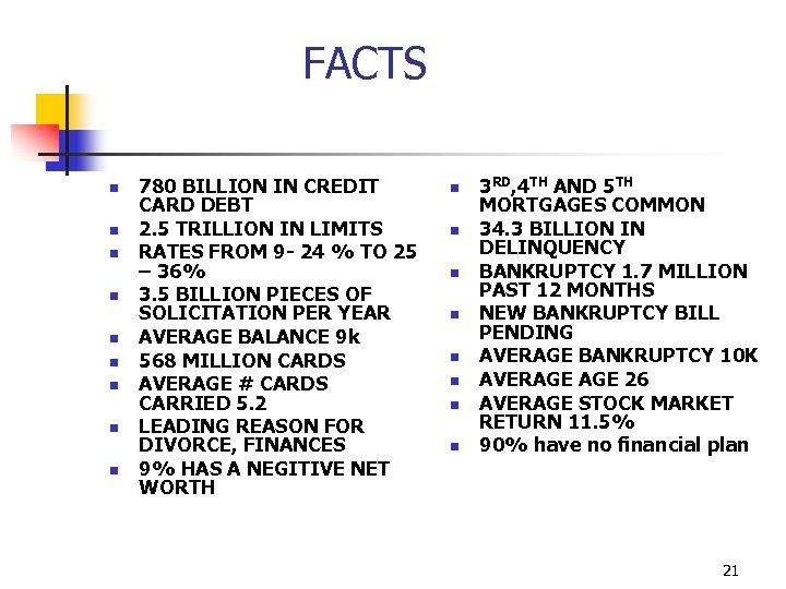 FACTS n n n n n 780 BILLION IN CREDIT CARD DEBT 2. 5