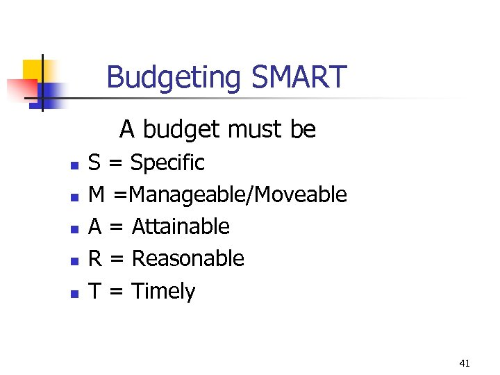 Budgeting SMART A budget must be n n n S = Specific M =Manageable/Moveable
