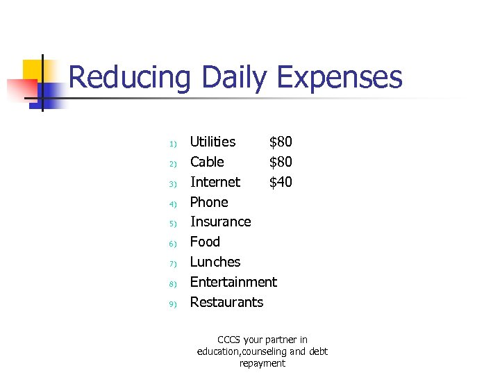 Reducing Daily Expenses 1) 2) 3) 4) 5) 6) 7) 8) 9) Utilities $80