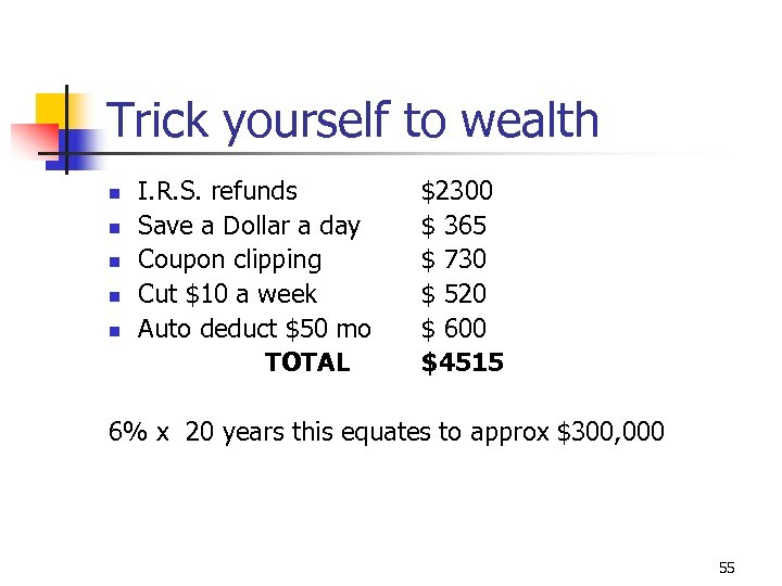 Trick yourself to wealth n n n I. R. S. refunds Save a Dollar