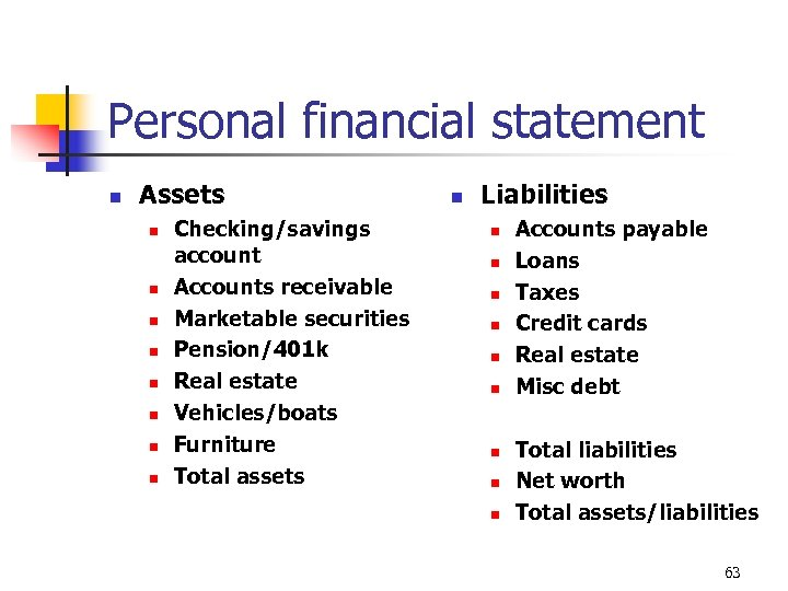 Personal financial statement n Assets n n n n Checking/savings account Accounts receivable Marketable