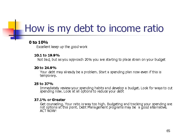 How is my debt to income ratio 0 to 10% Excellent keep up the