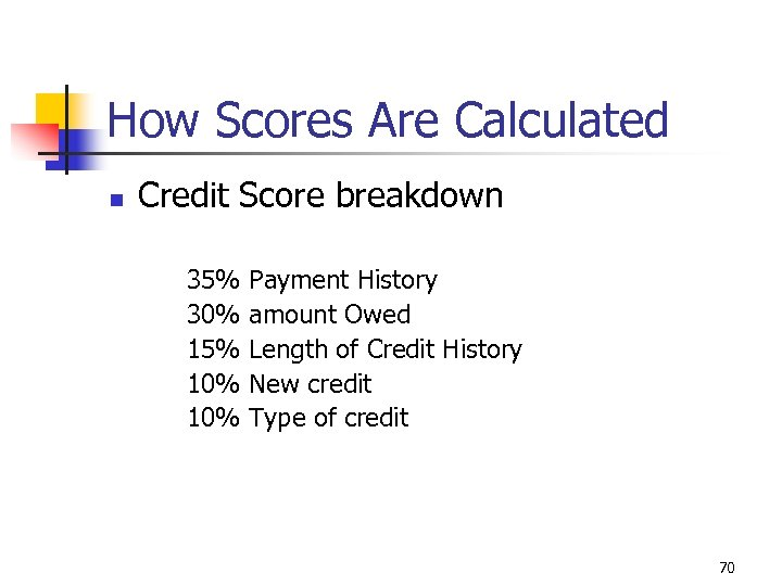 How Scores Are Calculated n Credit Score breakdown 35% 30% 15% 10% Payment History