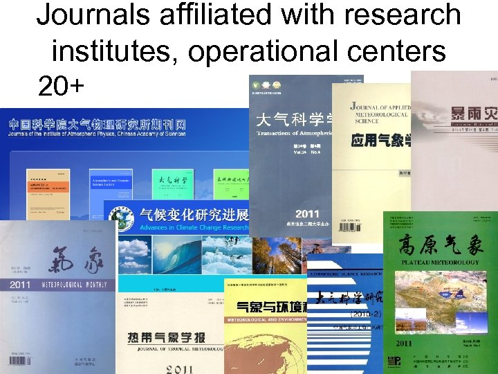 Journals affiliated with research institutes, operational centers 20+