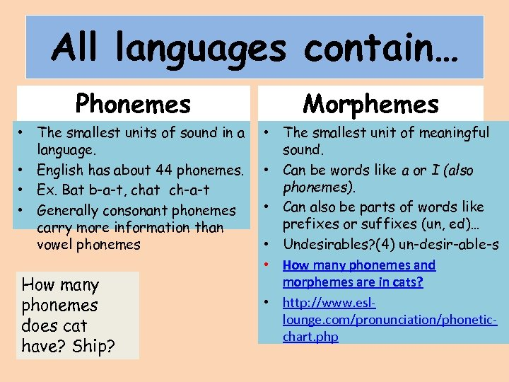 All languages contain… Phonemes • The smallest units of sound in a language. •