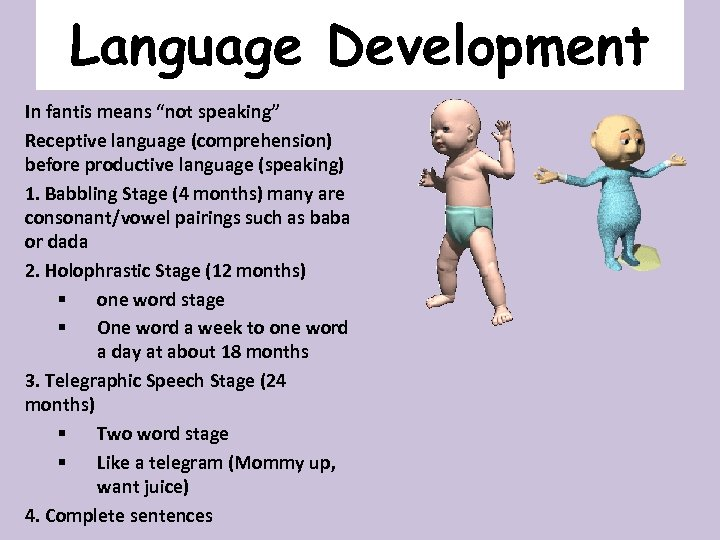 "Language Development In fantis means ""not speaking"" Receptive language (comprehension) before productive language (speaking)"
