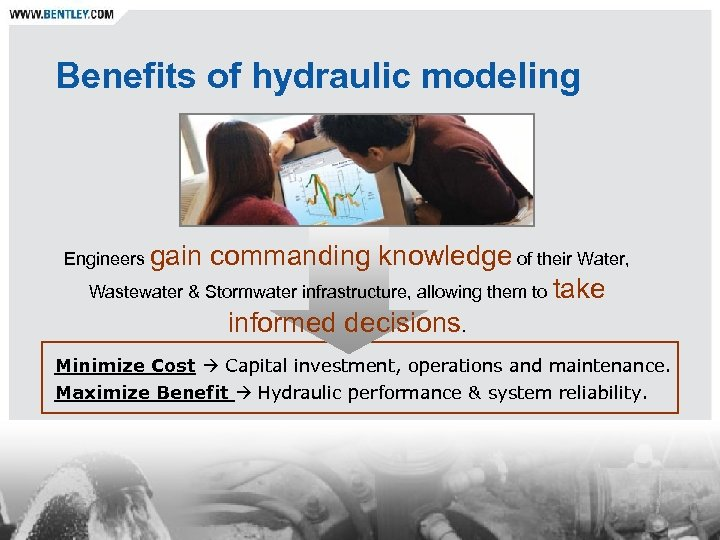 Benefits of hydraulic modeling Engineers gain commanding knowledge of their Water, Wastewater & Stormwater
