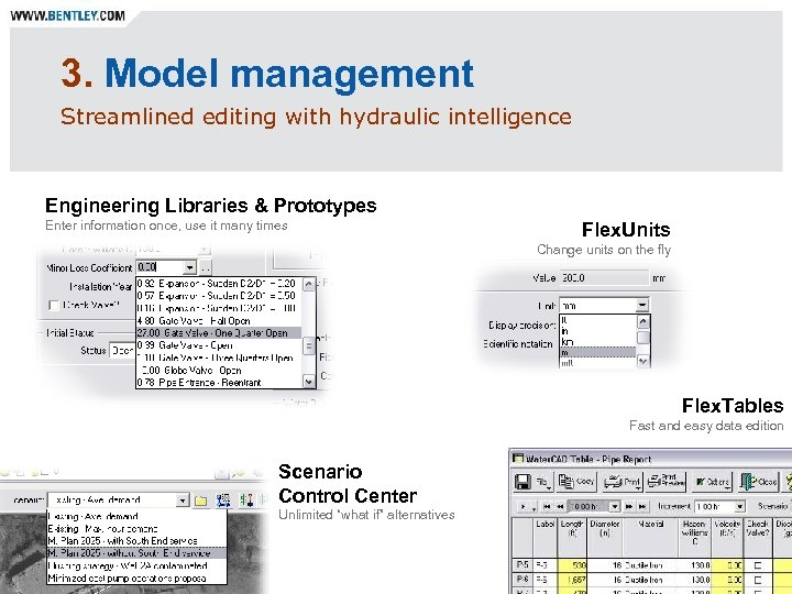 3. Model management Streamlined editing with hydraulic intelligence Engineering Libraries & Prototypes Enter information