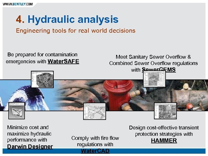 4. Hydraulic analysis Engineering tools for real world decisions Be prepared for contamination emergencies