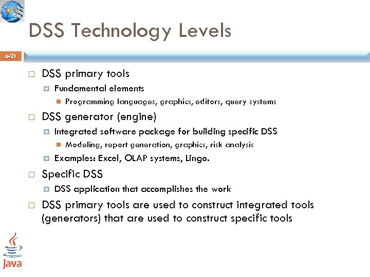 DSS Technology Levels 6 -21 DSS primary tools Fundamental elements DSS generator (engine) Integrated