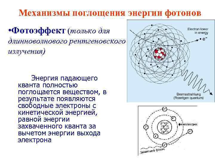 Механизмы поглощения энергии фотонов • Фотоэффект (только для длинноволнового рентгеновского излучения) Энергия падающего кванта