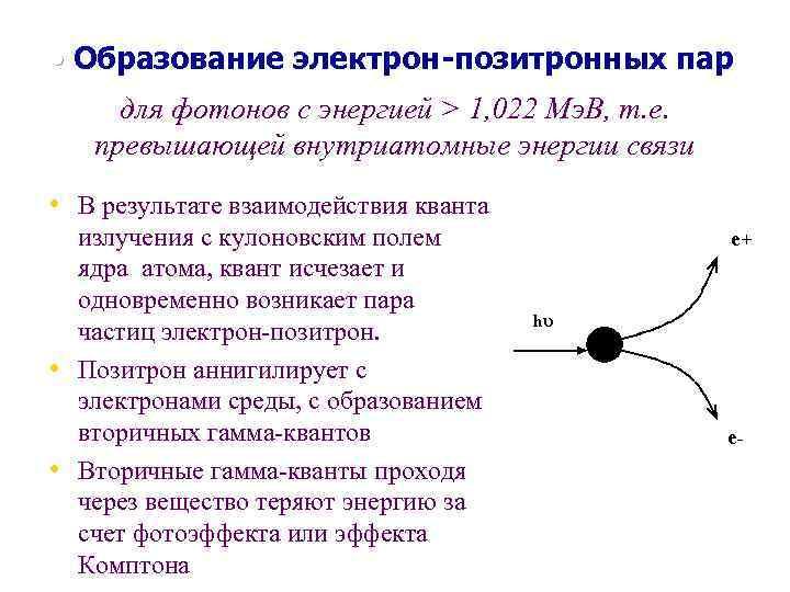 • Образование электрон-позитронных пар для фотонов с энергией > 1, 022 Мэ. В,
