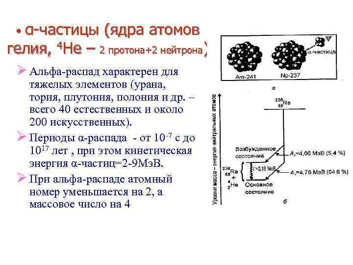 • α-частицы (ядра атомов гелия, 4 He – 2 протона+2 нейтрона) Ø Альфа-распад