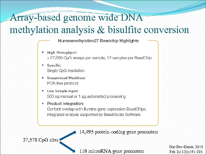 Array-based genome wide DNA methylation analysis & bisulfite conversion 14, 495 protein-coding gene promoters