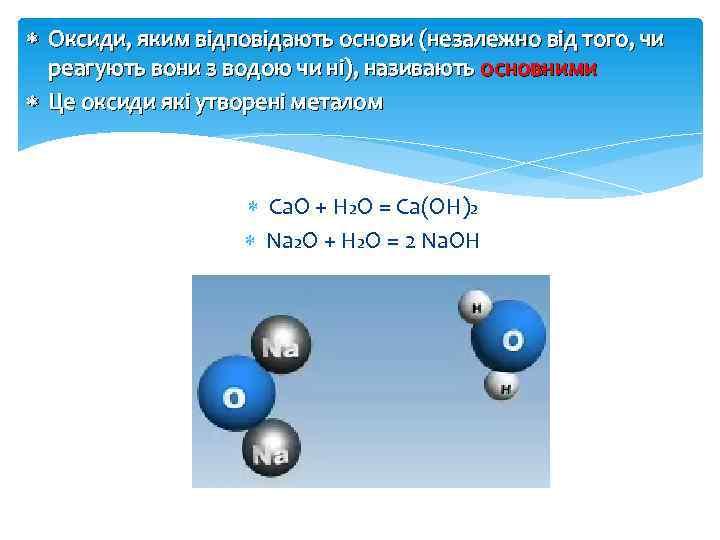 Оксиди, яким відповідають основи (незалежно від того, чи реагують вони з водою чи