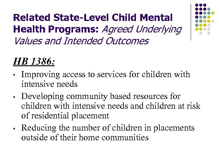 Related State-Level Child Mental Health Programs: Agreed Underlying Values and Intended Outcomes HB 1386: