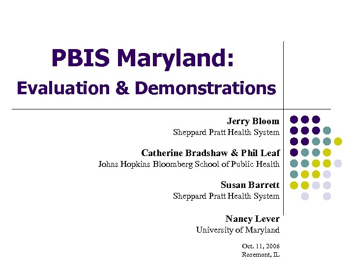 PBIS Maryland: Evaluation & Demonstrations Jerry Bloom Sheppard Pratt Health System Catherine Bradshaw &