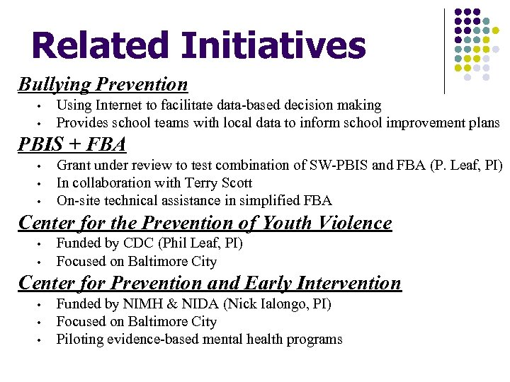 Related Initiatives Bullying Prevention • • Using Internet to facilitate data-based decision making Provides