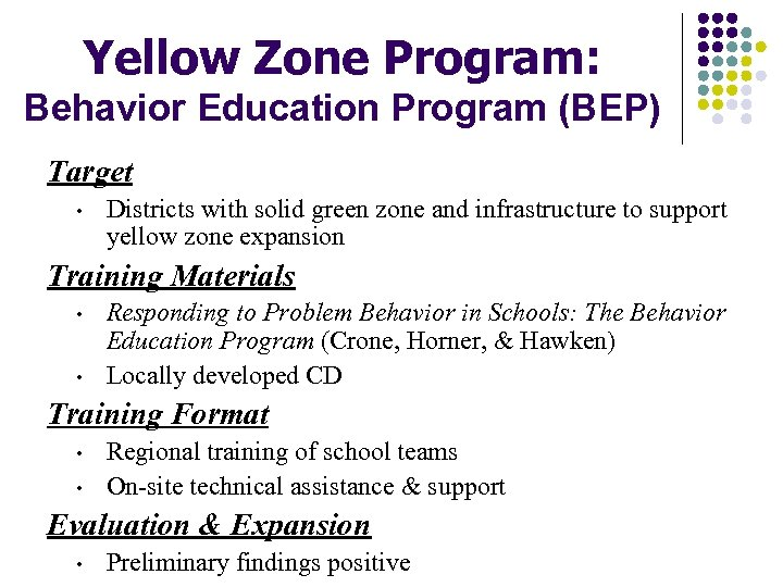 Yellow Zone Program: Behavior Education Program (BEP) Target • Districts with solid green zone
