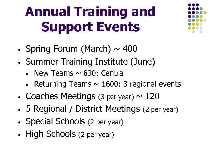 Annual Training and Support Events • • Spring Forum (March) ~ 400 Summer Training