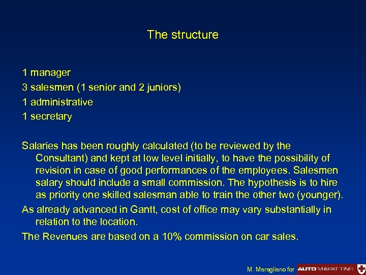 The structure 1 manager 3 salesmen (1 senior and 2 juniors) 1 administrative 1