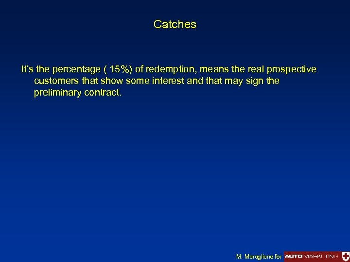 Catches It's the percentage ( 15%) of redemption, means the real prospective customers that