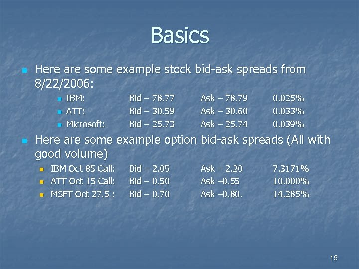 Basics n Here are some example stock bid-ask spreads from 8/22/2006: n n IBM: