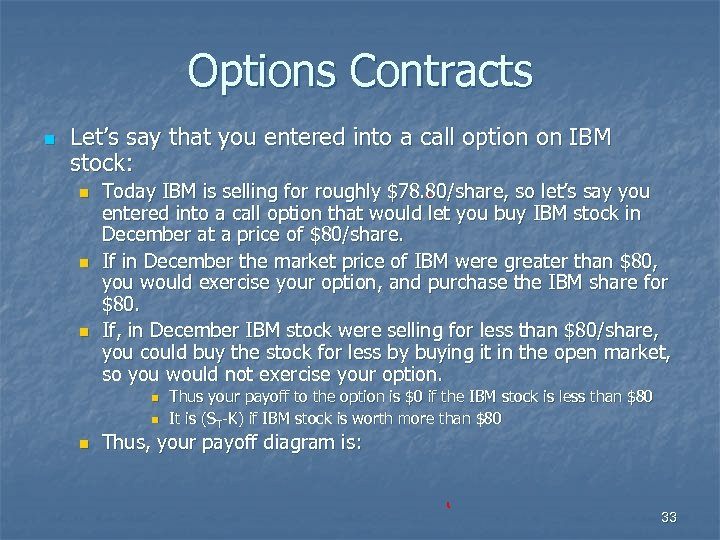 Options Contracts n Let's say that you entered into a call option on IBM