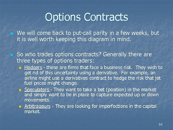 Options Contracts n n We will come back to put-call parity in a few