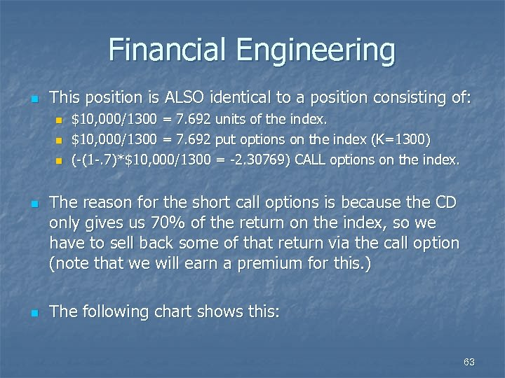 Financial Engineering n This position is ALSO identical to a position consisting of: n