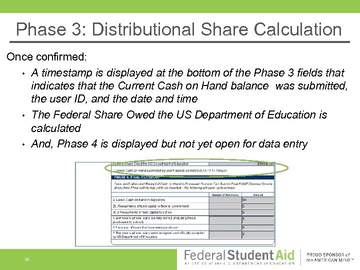 Phase 3: Distributional Share Calculation Once confirmed: • A timestamp is displayed at the