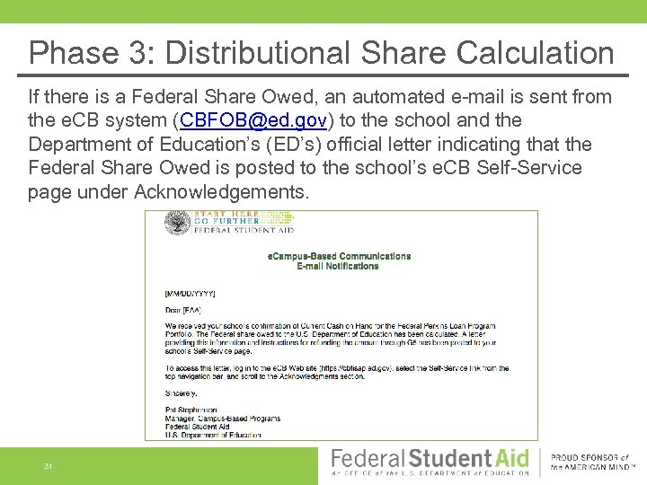 Phase 3: Distributional Share Calculation If there is a Federal Share Owed, an automated