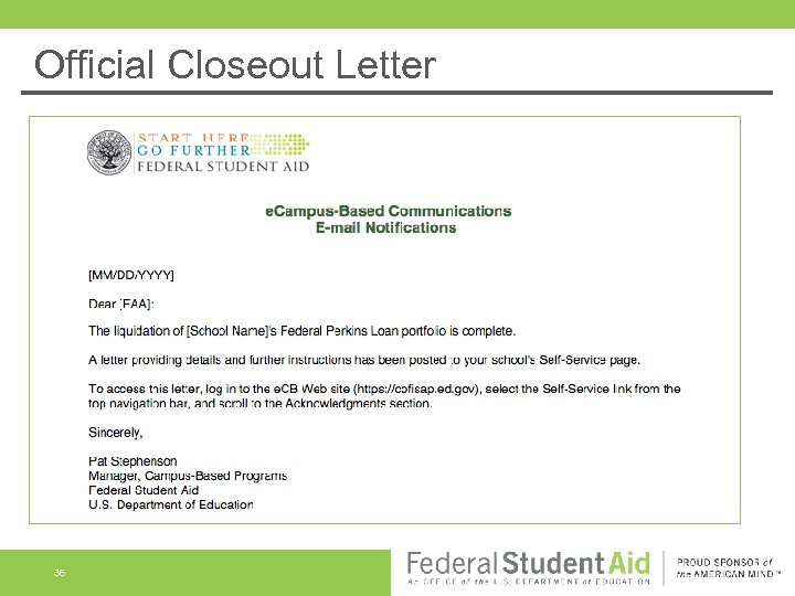 Official Closeout Letter 36