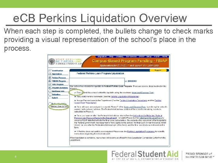 e. CB Perkins Liquidation Overview When each step is completed, the bullets change to