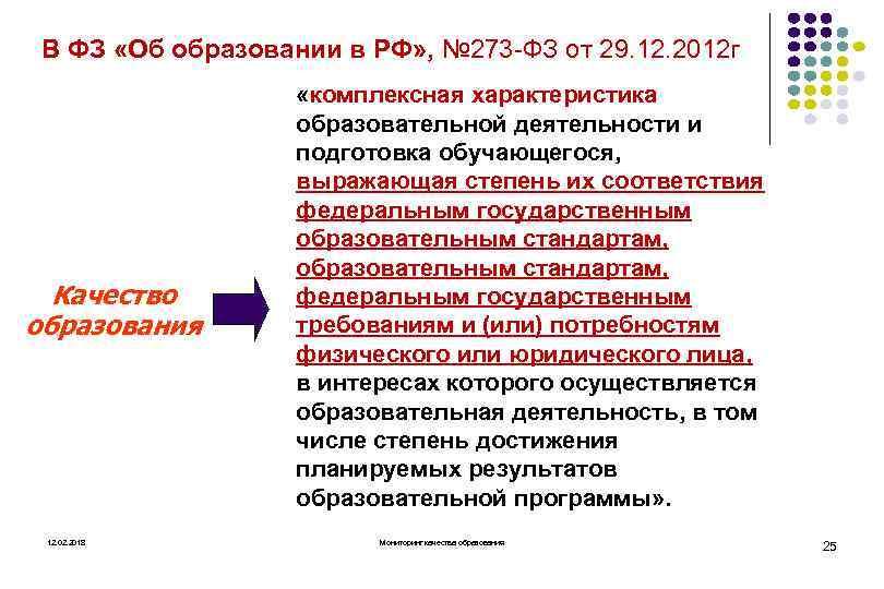 В ФЗ «Об образовании в РФ» , № 273 ФЗ от 29. 12. 2012