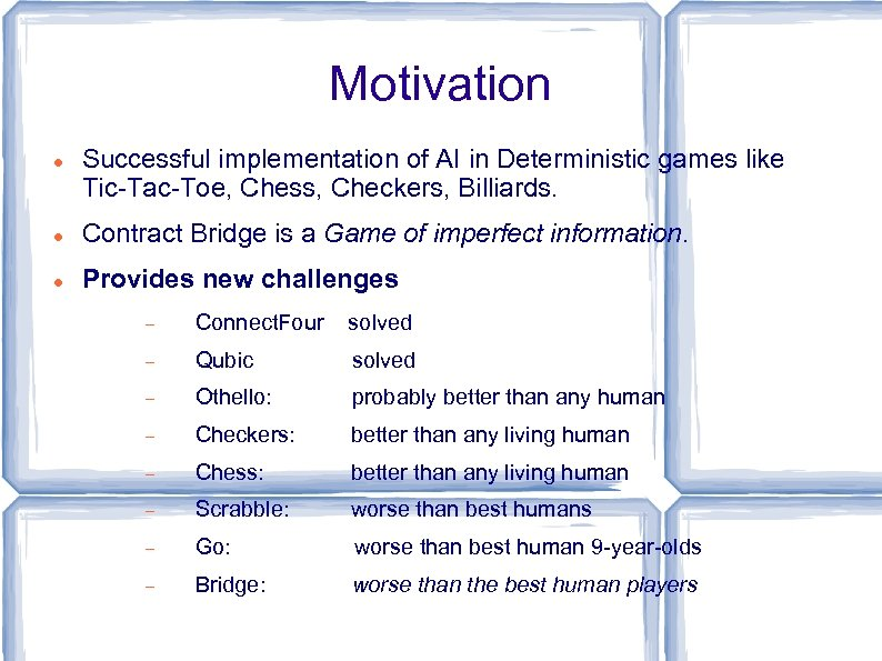 Motivation Successful implementation of AI in Deterministic games like Tic-Tac-Toe, Chess, Checkers, Billiards. Contract