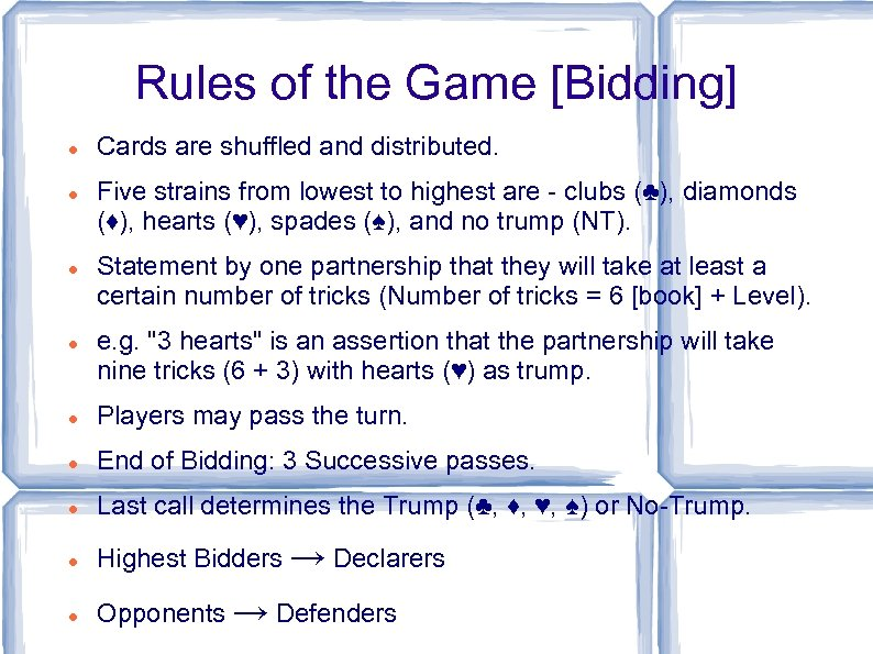 Rules of the Game [Bidding] Cards are shuffled and distributed. Five strains from lowest