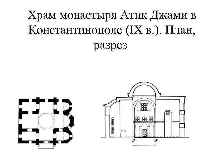 Храм монастыря Атик Джами в Константинополе (IX в. ). План, разрез
