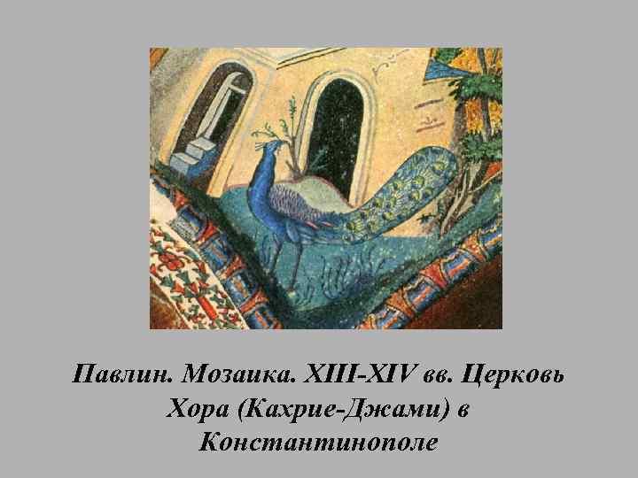 Павлин. Мозаика. XIII-XIV вв. Церковь Хора (Кахрие-Джами) в Константинополе