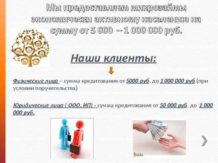 Мы предоставляем микрозаймы экономически активному населению на сумму от 5 000 – 1 000