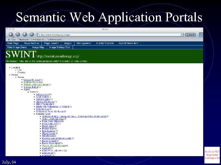 Semantic Web Application Portals July, 04