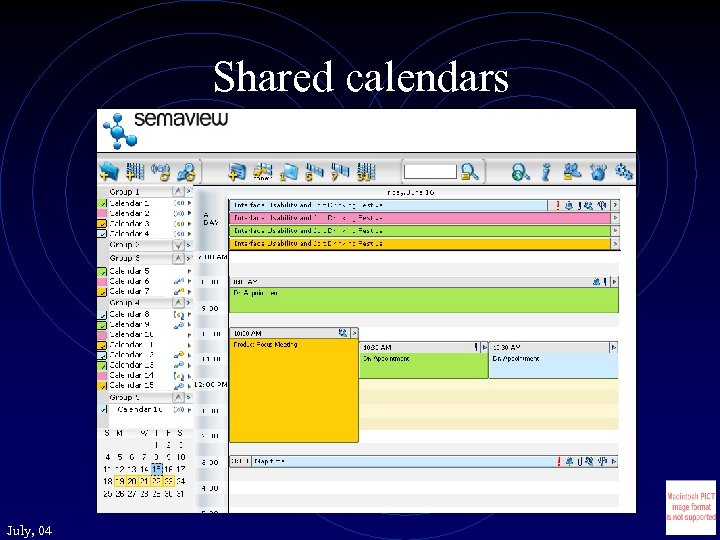 Shared calendars July, 04