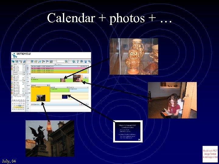 Calendar + photos + … July, 04