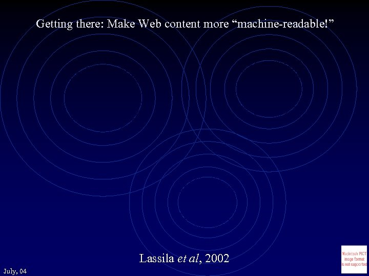 "Getting there: Make Web content more ""machine-readable!"" Lassila et al, 2002 July, 04"