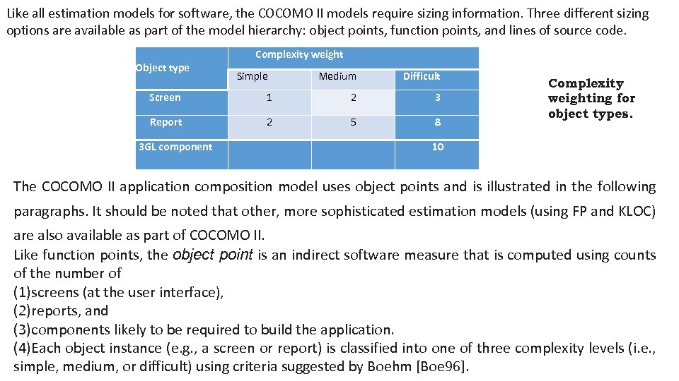 Like all estimation models for software, the COCOMO II models require sizing information. Three