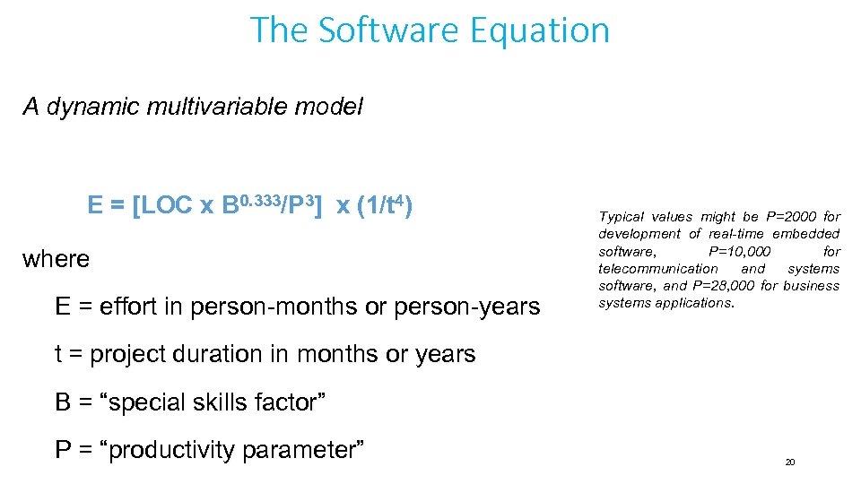 The Software Equation A dynamic multivariable model E = [LOC x B 0. 333/P