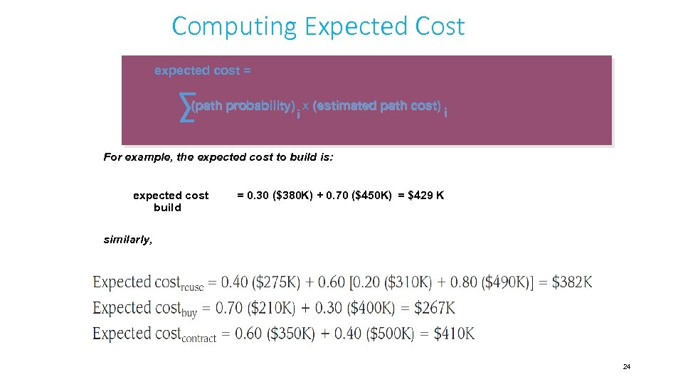 Computing Expected Cost expected cost = (path probability) x (estimated path cost) i i